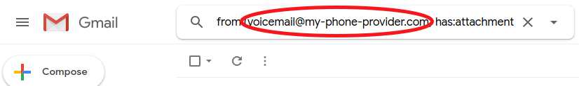 Search voicemails in gmail